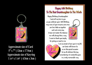 18th Happy Birthday Granddaughter Card & Keyring Gift 18 Today