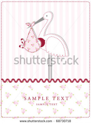 Baby Girl Arrival Card With