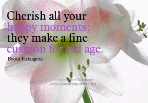 Cherish all your happy moments; they make a fine cushion for old age.