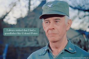 ... mash confessions; colonel potter; harry morgan; character: sherman
