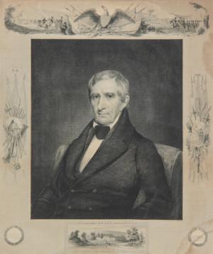 Framed William Henry Harrison Memorial Print.