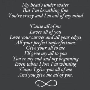 John legend all of me lyrics love songs