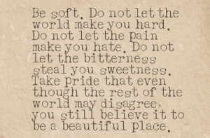 Let The World Make You Hard, Don't Let The Pain Make You Hate: Quote ...