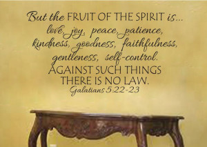 Galatians 5:22-23 Fruit of the Spirit is love joy peace patience ...