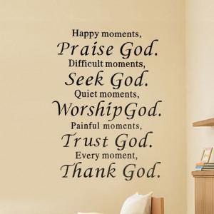 Happy Praise Difficult Seek God Quote DIY Art Wall Sticker Decals Room