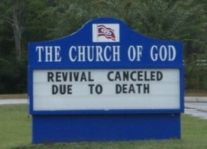 Funny Church Service Sign Joke Picture