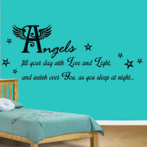 Angels Watch Over You Quote, Nursery Vinyl Wall Art Sticker,Decal Kids ...