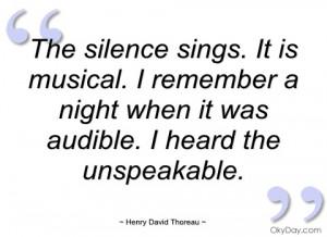 the silence sings henry david thoreau