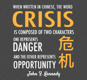 When written in chinese the word crisis is composed of two characters ...