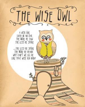 Owl Print, Woodland Decor, Owl Quote Print, Owl Woodland Nursery Rhyme ...