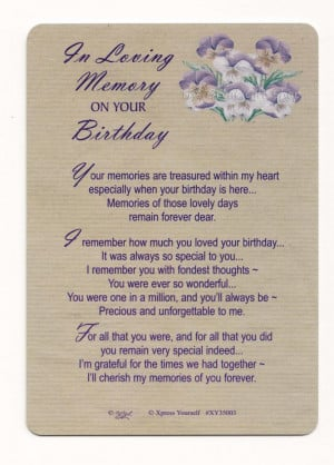 Details about In Loving Memory on Your Birthday Plastic Weatherproof ...