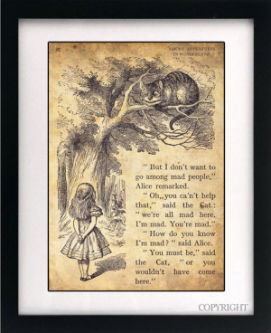 Alice in Wonderland Art Book Print - A4 or A3 Vintage Page Effect Wall ...