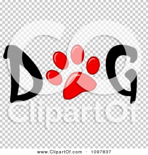 clipart red paw print in the word dog royalty free vector red paw ...