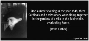 One summer evening in the year 1848, three Cardinals and a missionary ...