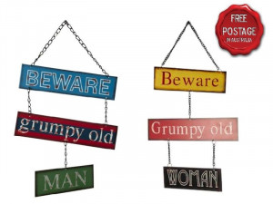 ... Wall Plaque Home Decor Sign Funny Quotes - Beware Grumpy Old Man/Woman