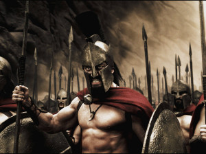 king leonidas in 300 again motivating his soldiers before a battle 300 ...