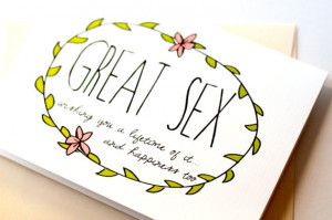 ... Newlywed Card. Funny Wedding Card. Great Sex. Simple Eco Friendly Card
