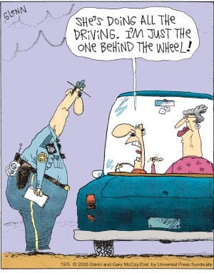 Funny Back-seat Driver Wife Cartoon Picture Joke - She's doing all the ...