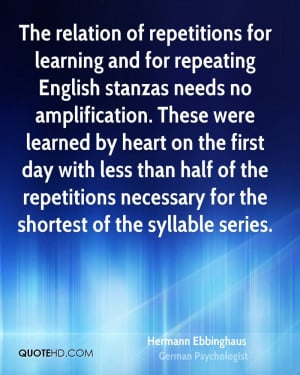 The relation of repetitions for learning and for repeating English ...