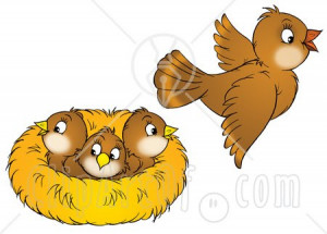 ... -Of-A-Brown-Bird-Flying-Away-From-A-Nest-With-Three-Baby-Birds.jpg