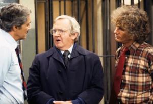 Still of Hal Linden and Arthur Malet in Barney Miller (1974)