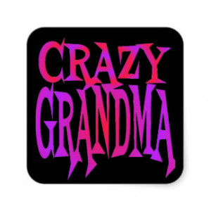 Crazy Grandma Square Sticker