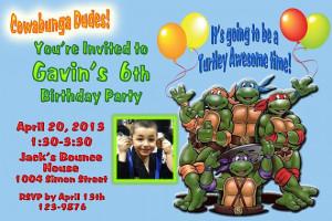 Teenage Mutant Ninja Turtles You Print Birthday Invitation with Photo