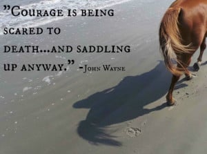 ... is being scared to death ... and saddling up anyway.