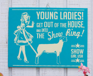 Show Lamb Retro Hand Screened Wood Sign