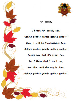 Grade ONEderful: I Heard Mr. Turkey Say poem