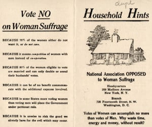 Pamphlet distributed by the National Association Opposed to Woman ...