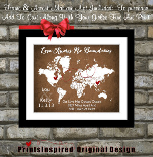Long Distance Relationship Quotes: Travel Map Distance Gifts For ...