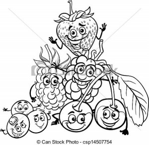 Clipart Vector of berry fruits cartoon for coloring book - Black ...