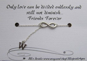 Infinity and Initial Charm Necklace and Quote Card- Bridesmaids Gift ...