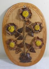 Vintage Mid Century Danish Modern Wooden Shabby Floral Chic Wall Art ...