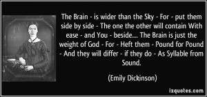Emily Dickinson the Brain Is Wider than the Sky Quote