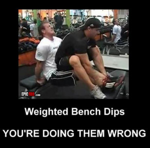 Funny fitness pictures- weighted bench dips