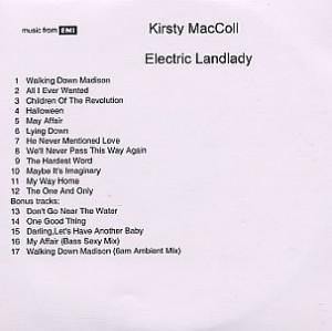 Kirsty MacColl, Electric Landlady, UK, Promo, Deleted, CD-R acetate ...