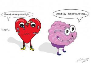 brain, cartoon, heart, heart and brain, heart broke, love, sigh