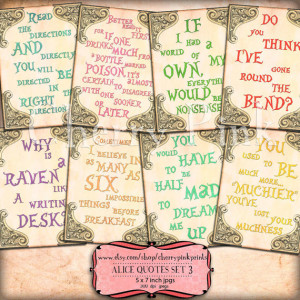 ALICE in WONDERLAND QUOTES Set 3, Alice decoration party printable ...