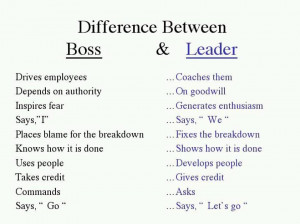... topic of a boss vs a leader, I came across the following image below
