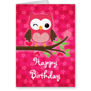 hot_pink_cute_owl_girly_happy_birthday_card ...