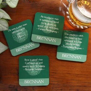 Gift Idea: Famous Irish Quotes Personalized Drink Coaster Set