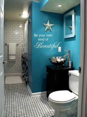bathroom / teal wall paint, black cabinets. Love the quote too