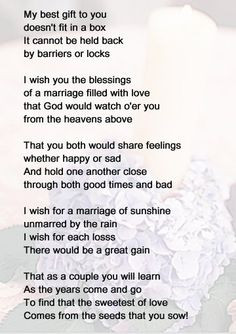Poems for a new bride | Some enchanting poems have been passed down ...