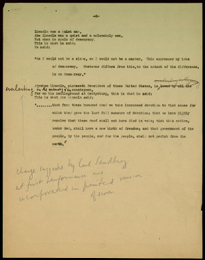 An annotated carbon copy of the speaker's part of Aaron Copland's ...