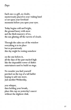 Days ~ Billy Collins Date of Work: 1995 This poem was originally ...