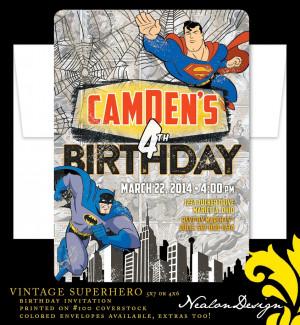 Vintage SUPERHERO Birthday Invitation