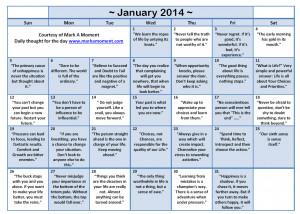 December 2013 Motivational Thoughts Calendar