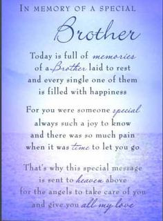 ... memory poems for brother | m06 brother in memory of a special brother